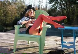 Real Pantyhose Teens Ivory miniskirt