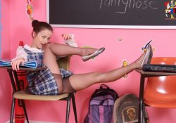 cute teen schoolgirl in pantyhose