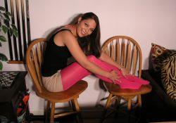 real pantyhose teens korri pink pantyhose