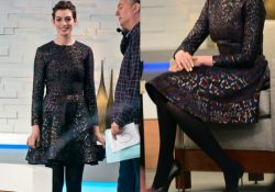 Anne Hathaway black opaque pantyhose