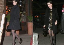 Anne Hathaway pantyhose and minidress